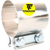 "TOTALFLOW 2.25"" TF-JB57 304 Stainless Steel Butt Joint Exhaust Muffler Clamp Band-2.25 Inch"