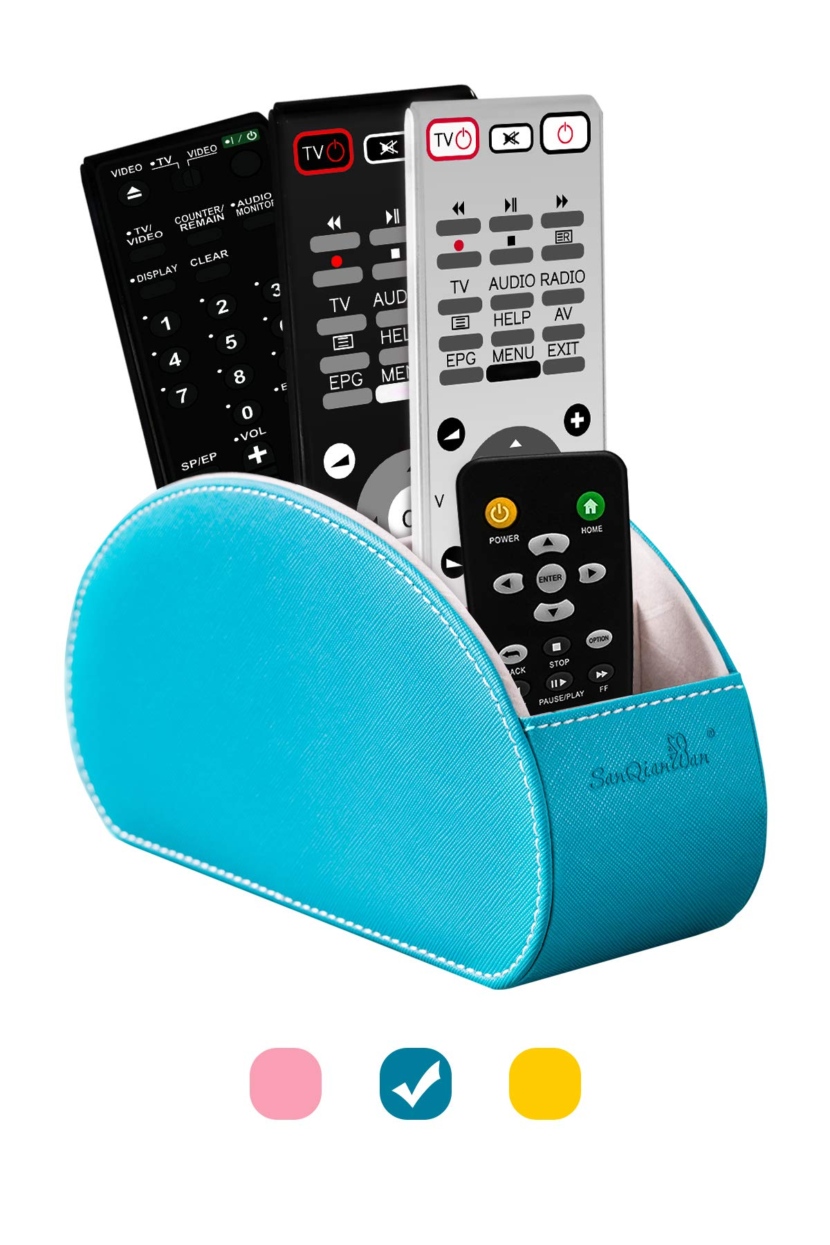 Tv Remote Control Holders Organizer Box with 5 Compartment PU Leather Multi-Functional Office Organization and Storage Caddy Store Tv Remote Holders,Brush,Pencil,Glasses and Media Player (Bule)