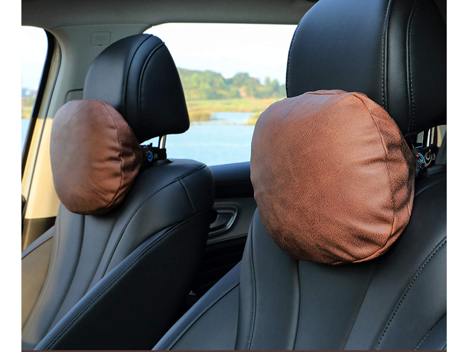 PAMIR TONG Car Seat Neck Pillow, Headrest Cushion for Neck Pain Relief&Cervical Support, Travel Neck Pillow Sleeping Seat Rest Pillow (Brown)