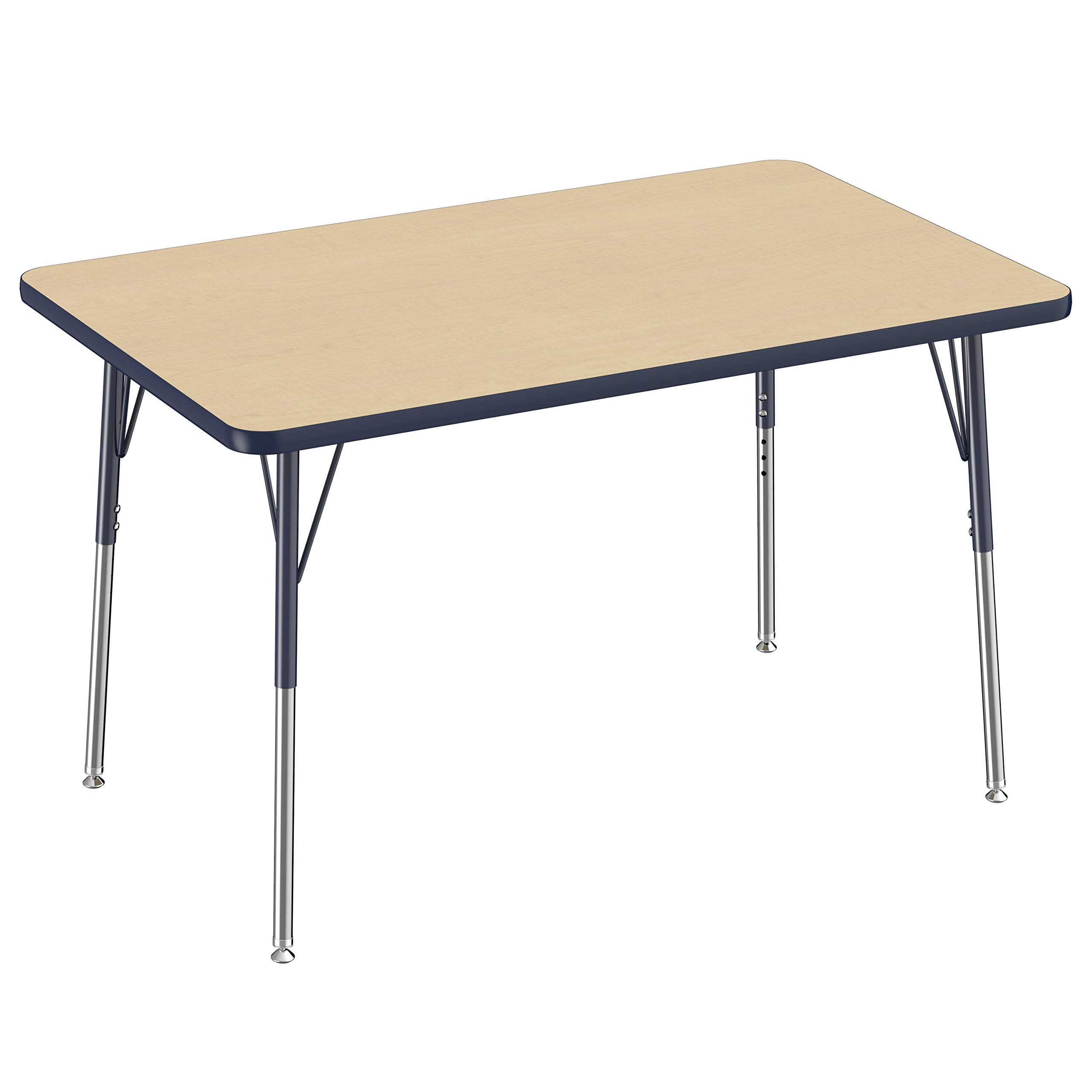 FDP Rectangle Activity School and Office Table (30 x 48 inch), Standard Legs with Swivel Glides, Adjustable Height 19-30 inches - Maple Top and Navy Edge