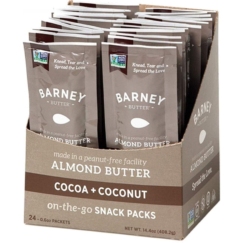BARNEY Almond Butter Snack Pack, Cocoa + Coconut, Paleo Friendly, KETO, Non-GMO, Skin-Free, 0.6 Ounce, 24 Count