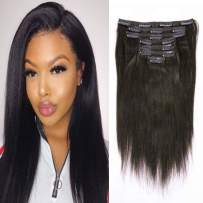 Yaki Straight Clip In Human Hair Extensions Real Remy Hair Yaki Clip In Hair Extension Double Weft Natural Hair Clip Ins For Black Women Thick Yaki Hair Clip In Extension Natural Black #1B 20inch