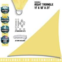 "TANG Sunshades Depot 11'x18'x21.1' Canary Yellow Sun Shade Sail 180 GSM with 8"" in Hardware Kit Right Triangle UV Block Outdoor Canopy Patio Garden Yard Pergola Park School Custom"