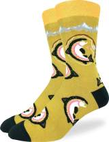 Good Luck Sock Men's Fishing for Trout Socks - Yellow, Adult Shoe Size 7-12