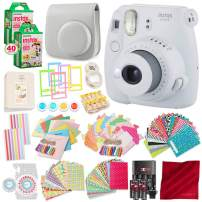 Fujifilm Instax Mini 9 Instant Camera Smokey White w/Fuji Instant Films (40 Pack) + Accessories Bundle - Carrying Case, Color Filters, Photo Albums, Assorted Frames, Selfie Lens Plus More