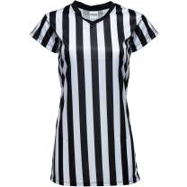 Murray Sporting Goods Women's V-Neck Black and White Stripe Referee Shirt, Official Jersey for Refs, Referee Costume, Waitresses and More