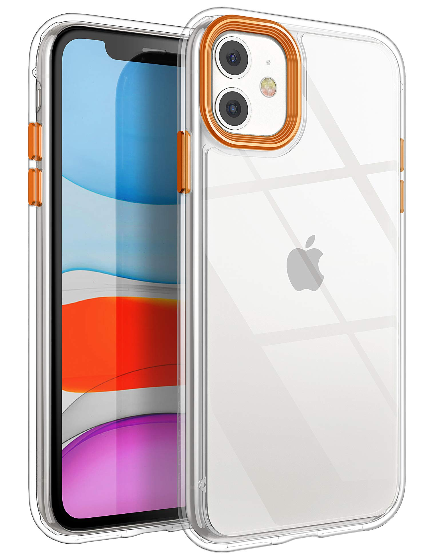 YOUMAKER Stylish Crystal Clear Case for iPhone 11, Anti-Scratch Shock Absorption Slim Fit Drop Protection Premium Bumper Cover Case for iPhone 11 6.1 inch (2019) - Clear/Orange