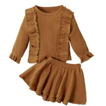 Toddler Baby Girl Infant Plain T Shirts Ruffle Skirt Set 2PCs Cotton Outfits Birthday Garden Dress Clothes