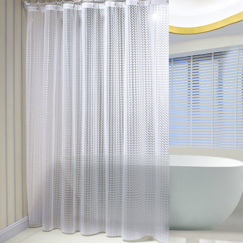 """SR SUN RISE Mildew Resistant EVA 3D Shower Curtain Liner with 12 Rings,Eco-Friendly Non Toxic No Chemical Odor, Rust Proof Brass Grommets 72""""x72"""" White"""