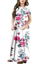 QUEEN PLUS Girls Casual Short Sleeve Boho Long Maxi Dresses with Pockets 4-12 Y