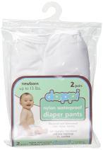 Dappi Waterproof 100% Nylon Diaper Pants, White, Newborn (2 Count)