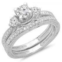 Dazzlingrock Collection 1.00 Carat (ctw) 14K Gold Round Diamond Ladies Vintage 3 Stone Bridal Engagement Ring Band Set 1 CT