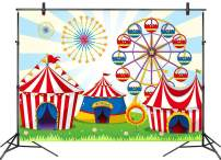 LB 7x5ft Carnival Circus Backdrop for Birthday Party Kids Boy Girl Baby Shower Photography Background Amusement Park Ferris Wheel Tent Photo Booth Studio Props