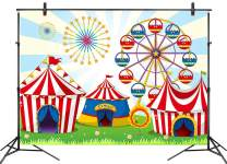 LB Circus Fiesta Carnival Party Backdrops for Photography 9x6ft Baby Shower Kids Birthday Party Decoration Ferris Wheel Dessert Cake Table Decor Photo Background Customized Photo Studio Props