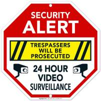 Video Surveillance Sign, Trespassers Will Be Prosecuted, 12x12 Octagon Shaped Rust Free Aluminum, Weather/Fade Resistant, Easy Mounting, Indoor/Outdoor Use, Made in USA by SIGO SIGNS