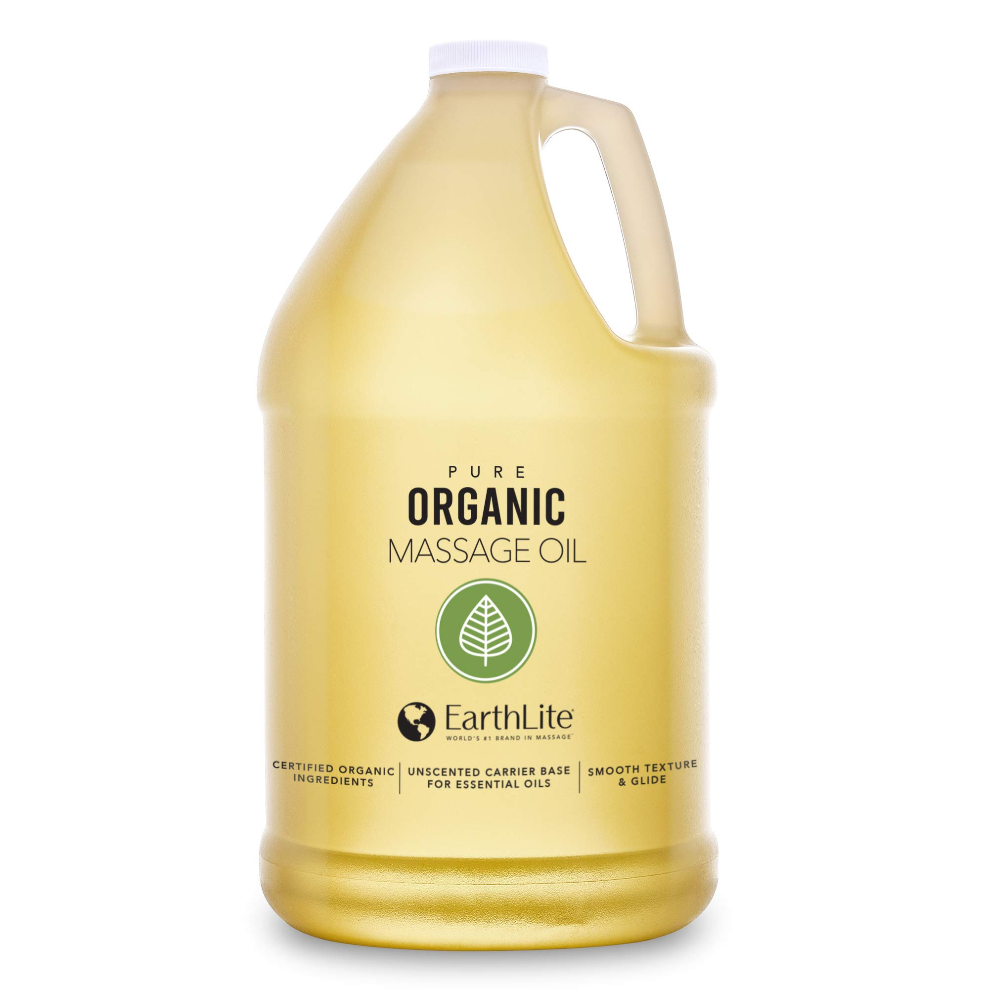 EARTHLITE Organic Massage Oil – NEW FORMULA: Chemical Free, 100% Certified Organic, Finest Quality for Therapists & Clients, Unscented