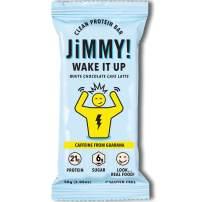 Jimmy! Wake It Up Bar, White Chocolate Café Latte, Protein Bar with Guarana Caffeine, Single Sample Bar