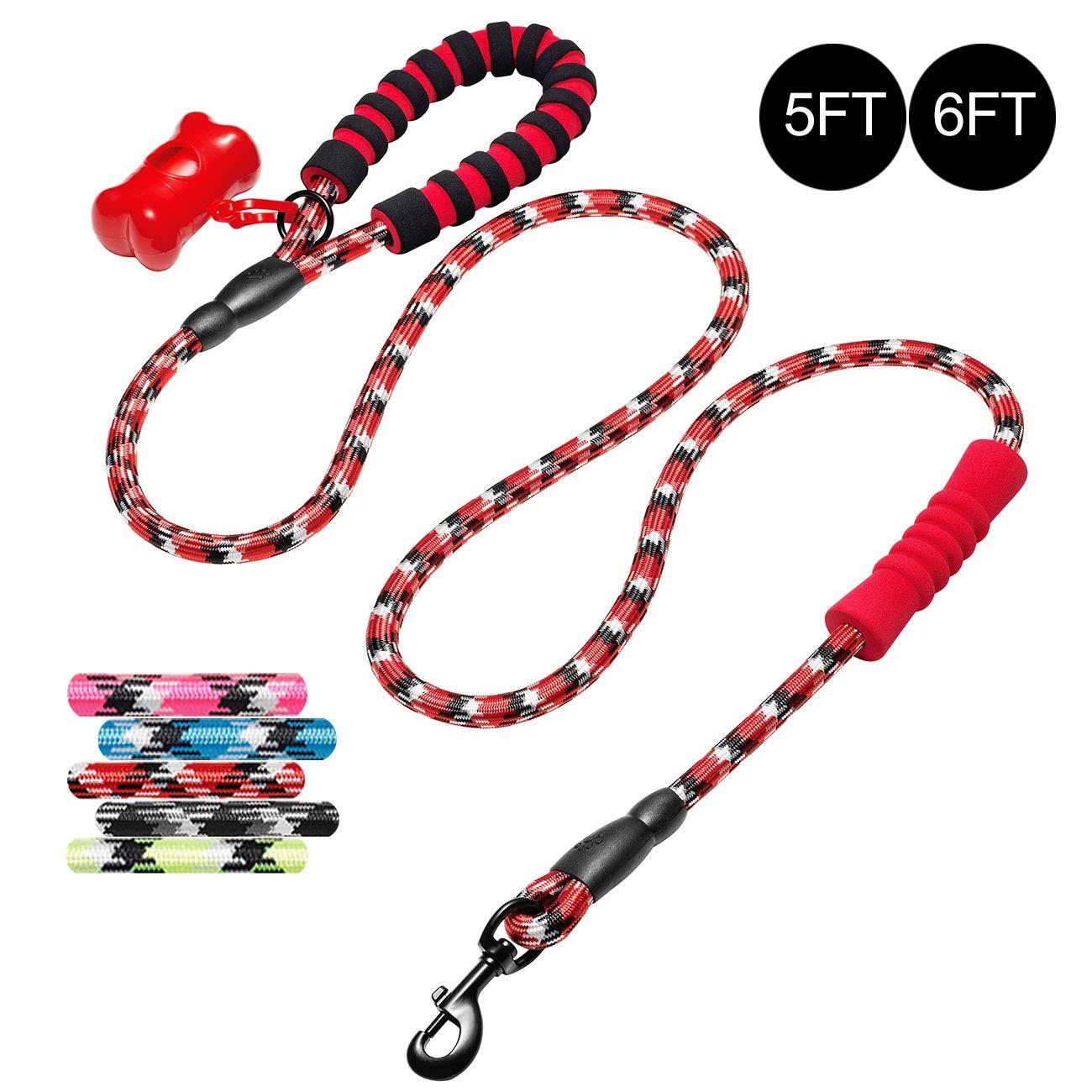 tobeDRI Heavy Duty Dog Leash with Foam Handle 5ft and 6ft Long - Dog Training Walking Leashes for Medium Large Dogs