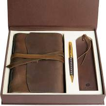 Leather Journal Gift Set with Antique Leather Bookmark + Pen, Handmade Writing Notebook 7x5 Inches Unlined Leather Bound Daily Notepad For Men For Women, Best Luxury Gift Box Travel Diary for all ages
