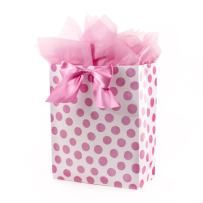 """Hallmark 15"""" Extra Large Gift Bag with Tissue Paper (Pink Polka Dots and Bow) for Birthdays, Easter, Baby Showers, Bridal Showers, Any Occasion"""