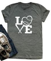 Women Love Baseball Print Short Sleeve T Shirt Heart Print Graphic Tee Tee Tops