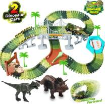 HOMOFY Dinosaur Toys 157pcs Slot Car Race Flexible Tracks 2 Dinosaurs,Create A Road Toys for 3 4 5 6 Year Old Boys Girls Toddlers Birthday Gifts
