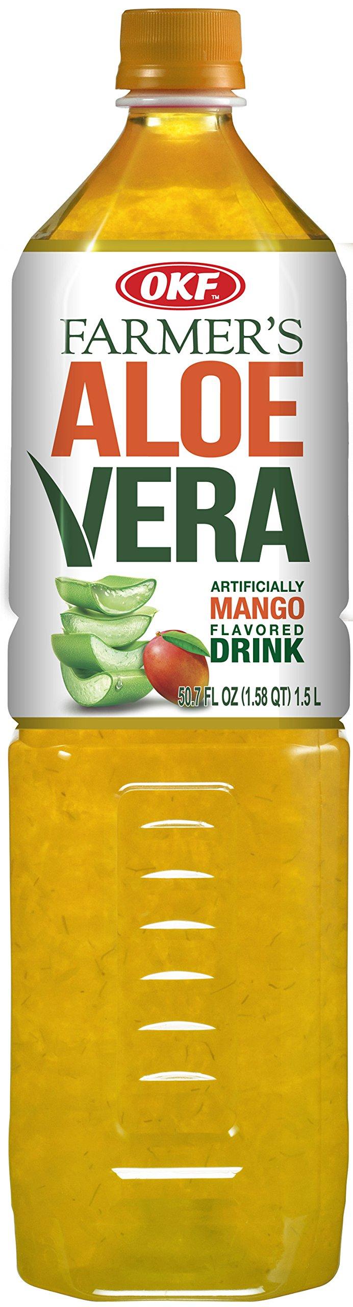 OKF Farmer's Aloe Vera Drink, Mango, 1.5 Liter (Pack of 12)