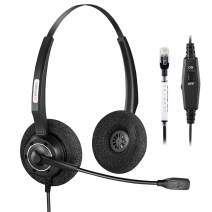 Arama Office Phone Headset Binaural w/Noise Canceling Mic for Polycom Mitel Avaya Aastra Adtran Alcatel Lucent Allworx AltiGen Comdial Digium Gigaset InterTel MiVoice Plantronics