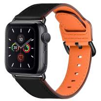 Compatible with Apple Watch Bands 44mm 42mm 40mm 38mm: Genuine Leather iWatch Band for Apple Watch SE Series 6 5 4 3 2 1, Dressy Smartwatch Strap for Women Men(Black/Black, 42mm 44mm)