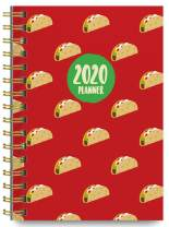 2020 Tacos Soft Cover Academic Year Day Planner Book by Bright Day, Weekly Monthly Dated Agenda Spiral Bound Organizer, 16 Month Calendar 6.25 x 8.25 Inch,
