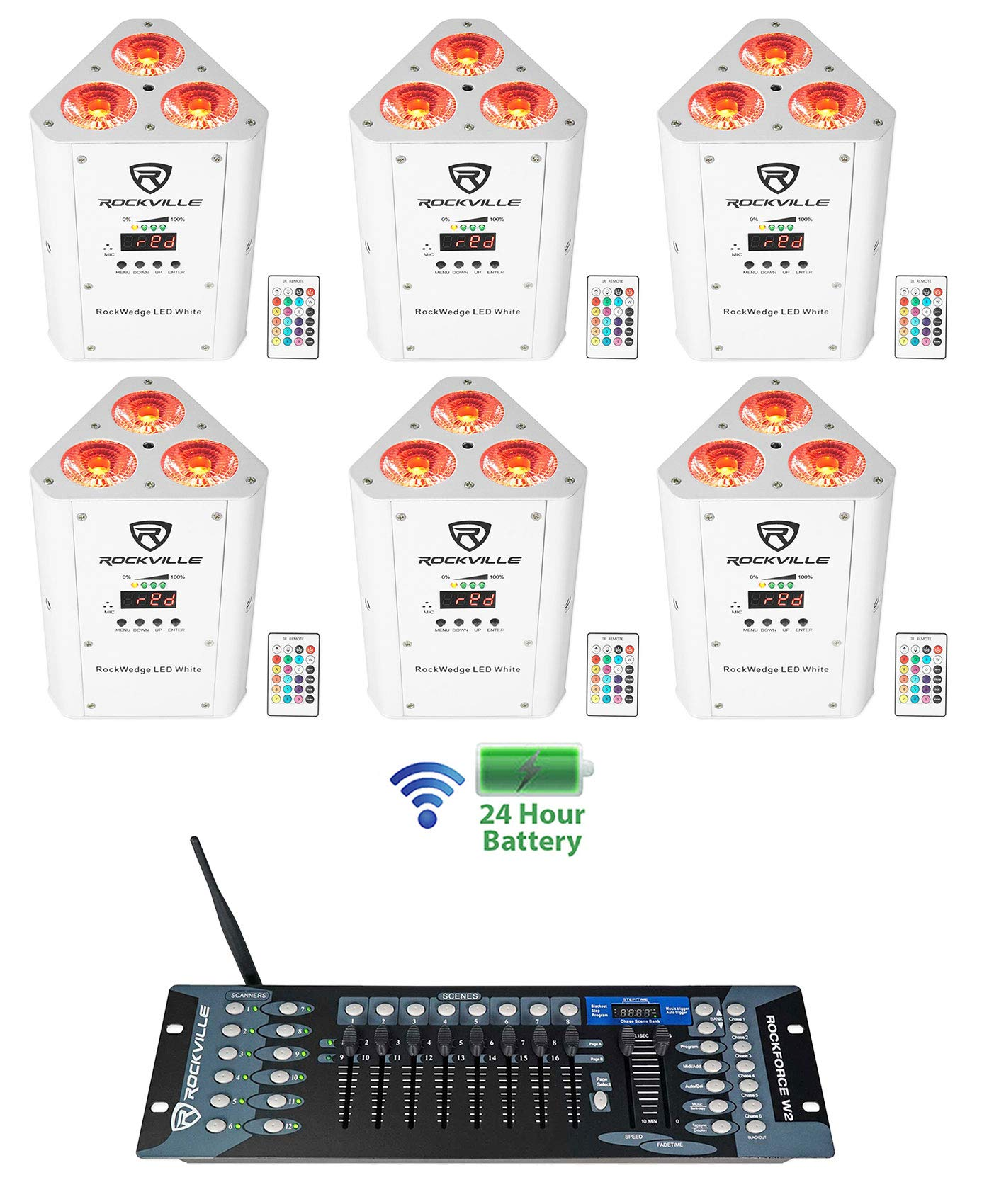 (6) Rockville RockWedge LED White Battery Powered Lights+Wireless DMX Controller
