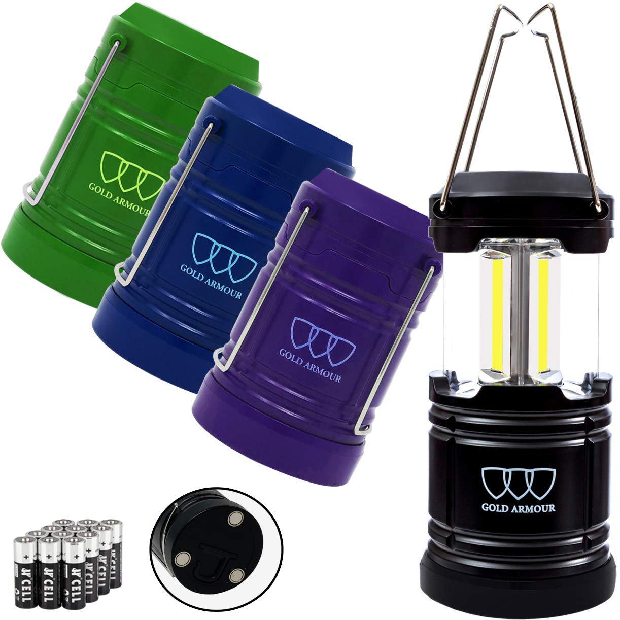 Gold Armour 4 Pack Portable Led Camping Lantern Flashlight with Magnetic Base - Emits 500 Lumens - Survival Kit for Emergency, Hurricane, Power Outage 12 aa Batteries Included (Multicolor)
