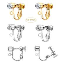 Finyosee 16 Pieces Crystal Clip on Earrings Clip Converter Components,Earring Clips for Non-Pierced Ears (Silver and Gold)