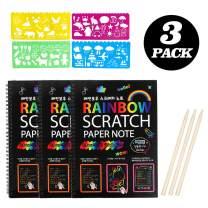 JCREN Rainbow Scratch Art for Kids - Magic Rainbow DIY Notebooks Art & Craft Paper Best Gift Party Favor Pack Activity Bulk Making Board Kit for 3 4 5 6 Toddler Boys Girls Birthday Game