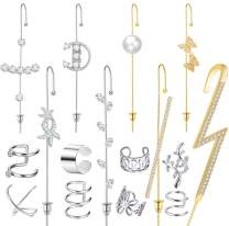 Cocamiky Ear Wrap Crawler Hook Earrings Sparking Cubic Zirconia Earcuffs Gold Silver Climber Piercing Hypoallergenic Earrings 16Pcs Set for Women Girls