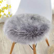 Noahas Faux Fur Sheepskin Silky Seat Cushion, Home Decor Long Wool Area Rugs Carpet, Soft Fluffy Plush Chair Seat Pads Universal Fit Home Office Restaurant Chair, 1.5ft Grey