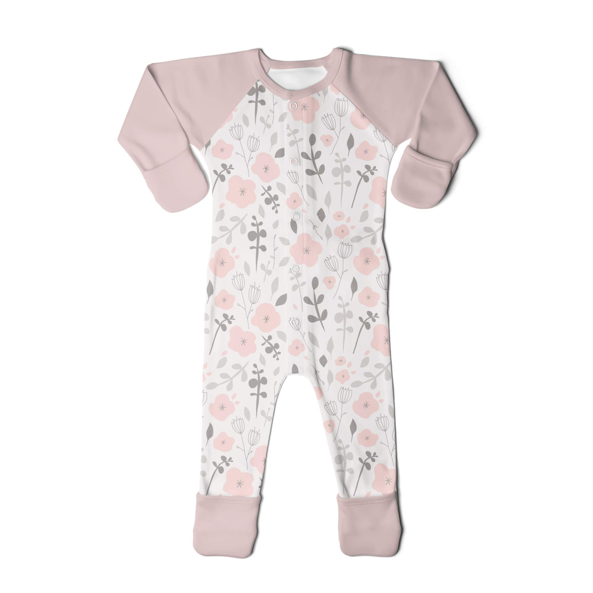 goumikids Goumi'all, Smart Adjustable Footie Baby Pajamas Made with Soft, Organic Material (0-3 Months, Enchanted Garden)