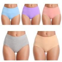 ANNYISON WomensUnderwear,HighWaist No Muffin Top FullCoverageCottonLaceBriefLadiesPantiesforWomenMultipack