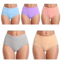 ANNYISON Womens Underwear,High Waist No Muffin Top Full Coverage Cotton Lace Brief Ladies Panties  for Women Multipack
