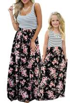 Geckatte Mommy and Me Dresses Casual Floral Family Outfits Summer Matching Maxi Dress Black