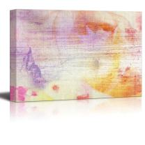 Abstract Canvas Art - Flower Composition with Watercolor Splatter - Giclee Print Modern Wall Decor | Stretched Gallery Wrap Ready to Hang Home Decoration - 12x18 inches