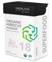 Organic Hibiscus Petals Powder by Merlion Naturals   Hibiscus rosa sinensis   227gm/ 8OZ/ 1/2lb   USDA NOP Certified 100% Organic