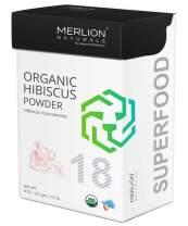Organic Hibiscus Petals Powder by Merlion Naturals | Hibiscus rosa sinensis | 227gm/ 8OZ/ 1/2lb | USDA NOP Certified 100% Organic