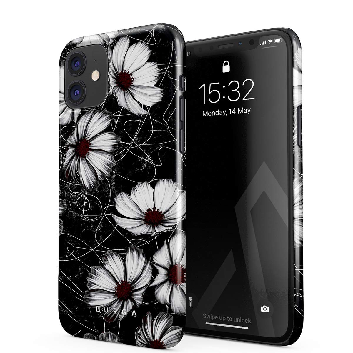 BURGA Phone Case Compatible with iPhone 11 - Senseless Cosmos Dark Black Floral Pattern for Girls Cute Case for Women Thin Design Durable Hard Plastic Protective Case