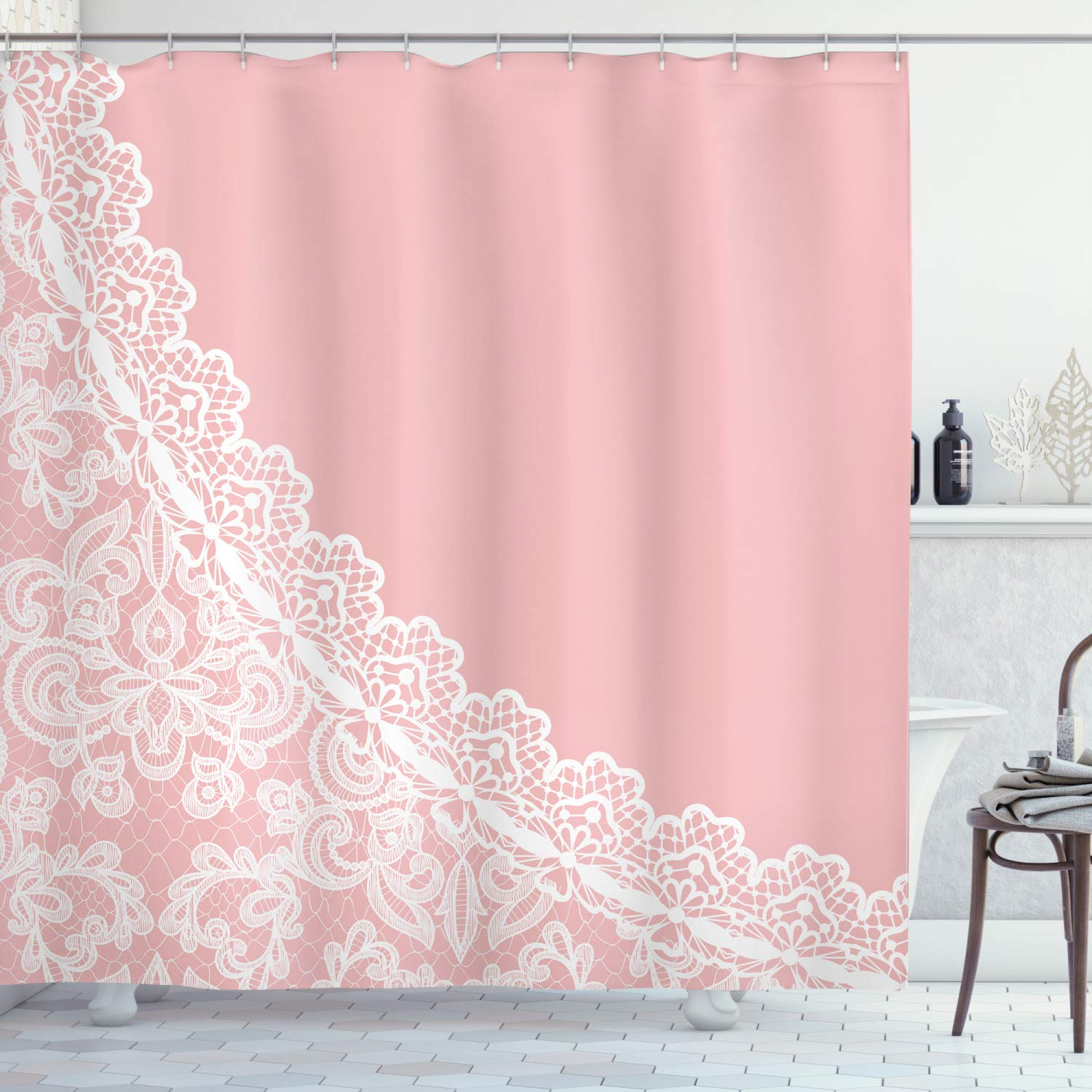 """Ambesonne Pink and White Shower Curtain, Lace Old Fashioned Border on Pink Color Wedding Theme Feminine Print, Cloth Fabric Bathroom Decor Set with Hooks, 84"""" Long Extra, Pale Pink"""