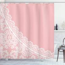 "Ambesonne Pink and White Shower Curtain, Lace Old Fashioned Border on Pink Color Wedding Theme Feminine Print, Cloth Fabric Bathroom Decor Set with Hooks, 84"" Long Extra, Pale Pink"