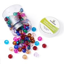 Pandahall 100pcs 10 Color Large Hole Beads European Rondelle Beads No Metal Core Glass Spacer Charms with 5mm Hole for DIY Jewelry Makings Findings Bracelet Necklace Charms 15x10mm