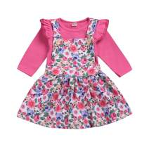 GRNSHTS Baby Girl Dress Toddler Solid Color Cotton Button Long Sleeve Dress with Headband Fall Winter Outfits