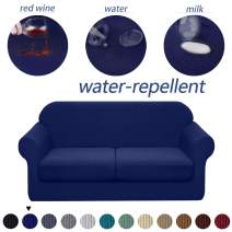 Granbest 3 Piece Premium Water-Repellent Couch Slipcover for 2 Cushion Couch Super Soft Loveseat Sofa Covers High Stretch Separate Cushion Couch Covers for Dogs Furniture Cover (Medium, Navy Blue)