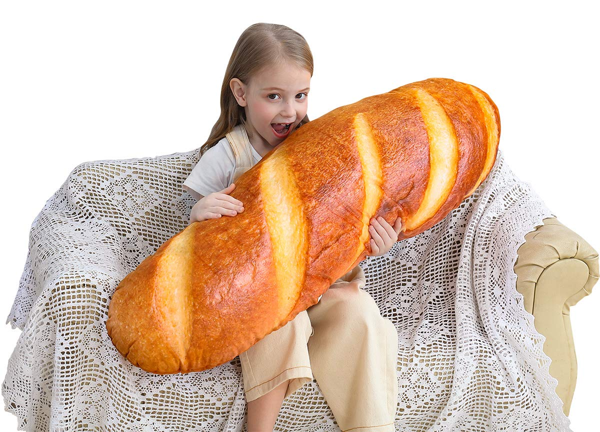 40 in 3D Simulation Bread Shape Pillow Soft Lumbar Back Cushion Funny Food Plush Stuffed Toy for Home Decor Gift